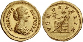 Crispina, wife of Commodus. Aureus 180-182, AV 7.28 g. CRISPINA – AVGVSTA Draped bust r., hair in coil at back. Rev. VENVS· FELIX Venus seated l., hol...