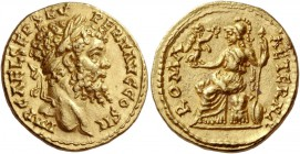 Septimius Severus, 193 – 211. Aureus, Eastern mint possibly Emesa or Alexandria 195, AV 7.29 g. IMP C AEL SEP SEV – PERT AVG COS II Laureate head r. R...