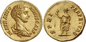 Caracalla caesar, 195 – 198. Aureus 196, AV 7.25 g. M AVR ANTO – NINVS CAES Bareheaded, draped and cuirassed bust r. Rev. SPEI – PERPETVAE Spes advanc...