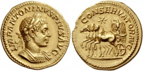 Elagabalus, 218 – 222. Aureus 220, AV 6.70 g. IMP ANTONINVS PIVS AVG Laureate and cuirassed bust r., with drapery on l. shoulder. Rev. CONSERVATOR AVG...