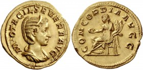 Otacilia Severa, wife of Philip I. Aureus 246-248, AV 4.48 g. M OTACIL SEVERA AVG Diademed and draped bust r. Rev. CONCORDIA AVGG Concordia seated l.,...