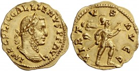 Gallienus, joint reign with Valerian I, 253 – 260. Aureus 255-256, AV 2.05 g. IMP C P LIC GALLIENVS P F AVG Laureate and cuirassed bust r. Rev. VIRT –...