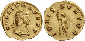 Gallienus, sole reign 260 – 268. Quinarius 262, AV 1.61 g. GALLIENVS AVG Laureate and cuirassed bust r. Rev. IOVIS – STATOR Jupiter standing to front,...