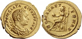 Tacitus, 275 – 276. Aureus, Lugdunum October-December 275, AV 5.03 g. IMP C M CLA TA – CITVS P F AVG Laureate, draped and cuirassed bust r. Rev. ROMAE...