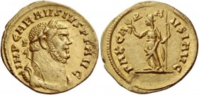 Carausius, 286 -293. Aureus, Londinium October 286-March 287, AV 4.20 g. IMP CARAVSIVS P F AVG Laureate, draped and cuirassed bust r. Rev. PAX CA – R ...