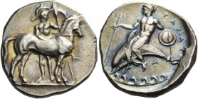 Calabria, Tarentum. Nomos circa 344-340, AR 7.92 g. Horse r.; behind, helmeted warrior holding spear and shield. In r. field, close to the horse's bre...