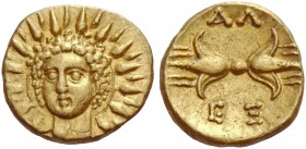 Calabria, Tarentum. Obol under Alexander the Molossian circa 334-333, AV 0.65 g. Radiate head of Helios facing. Rev. AΛ / EΞ Thunderbolt. Vlasto 1864....