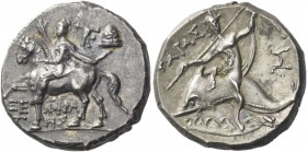 Calabria, Tarentum. Nomos circa 240-228 BC, AR 6.80 g. Cuirassed and cloaked soldier on horse l., raising r. hand; in upper r., TPK monogram and pileu...
