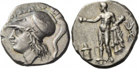 Lucania, Heraclea. Nomos circa 276-250 BC, AR 6.09 g. HPAKΛEIΩN Head of Athena l., wearing Corinthian helmet, decorated with griffin. Rev. Heracles st...
