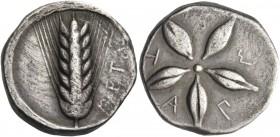 Metapontum. Nomos circa 440-430, AR 7.82 g. META Ear of barley. Rev. M – E – T – A – Π Star formed by five grains of barley. Johnston-Noe 310. Jameson...