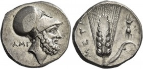 Metapontum. Nomos circa 340-330, AR 7.79 g. Head of Leucippus r., wearing Corinthian helmet; behind, AMI. Rev. META Ear of barley with leaf to r., abo...