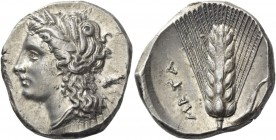 Metapontum. Nomos circa 290-280, AR 7.89 g. Head of Demeter l., wearing earring and barley wreath; behind, ΔΙ (?). Rev. META Ear of barley, with leaf ...