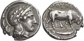 Thurium. Nomos circa 443-400 BC, AR 7.88 g. Head of Athena r., wearing Attic helmet; above, [Φ]. Rev. ΘΟΥΡΙΩ[Ν] Bull walking r.; below, bird. In exerg...
