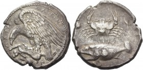 Sicily, Agrigentum. Tetradrachm circa 415, AR 17.01 g. ΑΚΡΑΓ – ΑΝΤΙΝ – Ο – Ν Eagle l., with wings spread, perched on dead hare lying on rock against w...