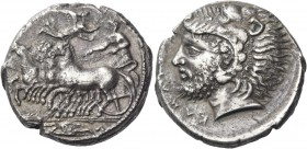 Camarina. Tetradrachm circa 415-400, AR 16.16 g. Fast quadriga driven l. by charioteer, holding reins; above, Nike flying r. to crown him. In exergue,...