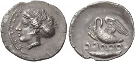 Camarina. Litra circa 410-405, AR 0.85 g. ΚΑΜΑΡΙΝΑ Head of nymph Kamarina l. , wearing sphendone decorated with star, ampyx, spiral earring and neckla...