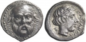 Catana. Hemidrachm circa 410-405, AR 1.91 g. Head of Silenus facing. Rev. ΚΑΤΑΝΑΙΩ – Ν Laureate head of Apollo r. Salinas pl. 19, 16. Mirone 94, 101. ...