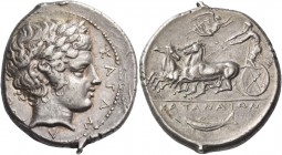 Catana. Tetradrachm circa 405, AR 17.27 g. KATAN – A – IΩΝ Laureate head of Apollo r. Rev. Fast quadriga driven l. by charioteer holding kentron and r...
