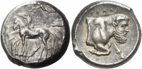 Gela. Tetradrachm circa 420-415, AR 17.44 g. Slow quadriga driven l. by charioteer holding kentron and reins; above, Nike flying l. to crown the horse...