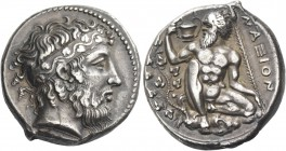 Naxos. Tetradrachm, circa 415, AR 17.14 g. Bearded head of Dionysus r., hair bound with stephane adorned with ivy-wreath. Rev. Bearded, naked Silenus,...