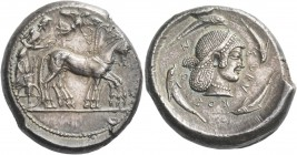 Syracuse. Tetradrachm circa 480-475, AR 17.35 g. Slow quadriga driven r. by charioteer holding kentron and reins; above, Nike flying r. to crown the h...