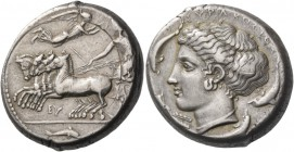 Syracuse. Tetradrachm signed by Eu… and Eukleidas circa 410, AR 17.27 g. Prancing quadriga driven l. by charioteer holding kentron and reins and leani...