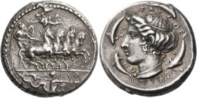 Syracuse. Tetradrachm signed by Euth… and Phrygillos circa 405, AR 17.38 g. Fast quadriga driven r. by naked and winged daimon holding reins with both...