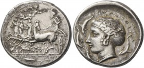 Syracuse. Tetradrachm unsigned work of Parmenides circa 405, AR 17.20 g. Fast quadriga driven l. by charioteer holding kentron and reins; above, Nike ...