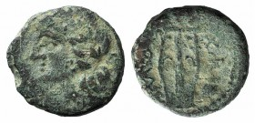 Sicily, Alaisa, 2nd century BC. Æ (14mm, 2.24g, 12h). Laureate head of Apollo l.; wheel behind. R/ Kithara; globe to r. CNS I, 8; HGC 2, 197. Green pa...