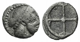 Sicily, Syracuse. Hieron I (478-466 BC). AR Obol (7.5mm, 0.52g), c. 475-470. Diademed head of Arethusa r. R/ Wheel of four spokes. SNG ANS 116; HGC 2,...