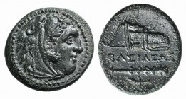 Kings of Macedon, Alexander III 'the Great' (336-323 BC). Æ (20mm, 5.13g, 3h). Uncertain mint in Western Asia Minor. Head of Herakles r., wearing lion...