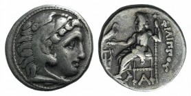Kings of Macedon, Philip III Arrhidaios (323-317 BC). AR Drachm (17mm, 4.19g, 12h). Kolophon, c. 322-319 BC. Head of Herakles r., wearing lion skin. R...
