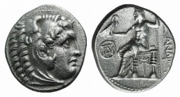 Kings of Macedon, Demetrios I Poliorketes (306-283 BC). AR Drachm (18mm, 3.97g, 12h). In the name and types of Alexander III. Miletos, c. 295/4 BC. He...