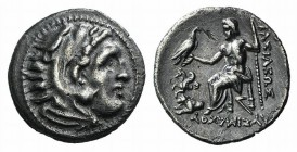 Kings of Thrace, Lysimachos (305-281 BC). AR Drachm (18mm, 4.16g, 6h). Lampsakos. Head of Herakles r., wearing lion skin. R/ Zeus Aëtophoros seated l....