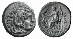 Kings of Thrace, Lysimachos (305-281 BC). AR Drachm (18mm, 3.82g, 6h). Lampsakos. Head of Herakles r., wearing lion skin. R/ Zeus Aëtophoros seated l....