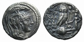 Attica, Athens. AR Drachm (18mm, 3.93g, 12h). New Style Coinage. Eumelos, Kalliphon and Alexander, magistrates, 108/7 BC. Helmeted head of Athens r. R...