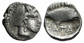 Paphlagonia, Sinope. Tarkumuwa (Datames, Satrap of Cilicia and Cappadocia, 384-361/0 BC). AR Obol (8mm, 0.65g, 1h), c. 375 BC. Female head r., hair bo...