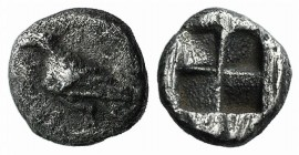 Asia Minor, Uncertain (Abydos?), c. 5th century BC. AR Hemiobol (5mm, 0.34g). Eagle standing l. R/ Quadripartite incuse square. Unpublished in the sta...