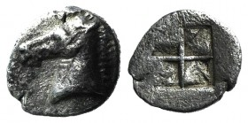 Asia Minor, Uncertain, 5th century BC. AR Tetartemorion (6mm, 0.22g). Horse's head l. R/ Quadripartite incuse square. Cf. Tzamalis 92 (Thraco-Macedoni...