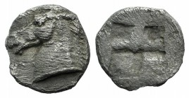 Asia Minor, Uncertain, 5th century BC. AR Tetartemorion (7mm, 0.19g). Horse's head l. R/ Quadripartite incuse square. Cf. Tzamalis 92 (Thraco-Macedoni...