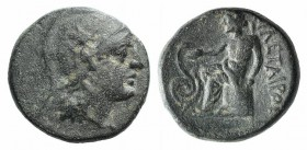 Kings of Pergamon, Philetairos (282-263). Æ (15mm, 4.01g, 12h). Helmeted head of Athena r. R/ Asklepios seated l. on stool, feeding serpent coiled to ...