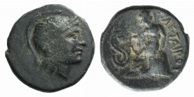 Kings of Pergamon, Philetairos (282-263). Æ (16mm, 4.13g, 12h). Helmeted head of Athena r. R/ Asklepios seated l. on stool, feeding serpent coiled to ...