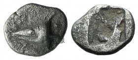 Mysia, Kyzikos, c. 500 BC. AR Hemiobol (8mm, 0.56g). Head of tunny r. R/ Quadripartite incuse square. Von Fritze II 2; SNG BnF 356; SNG von Aulock 732...