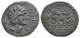 Mysia, Kyzikos. Pseudo-autonomous issue, 3rd century AD. Æ (25mm, 6.97g, 6h). Diademed head of the hero Kyzikos r. R/ Small altar between two flaming ...