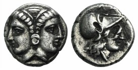 Mysia, Lampsakos, 4th-3rd centuries BC. AR Diobol (9mm, 1.19g, 6h). Female janiform head. R/ Head of Athena r., wearing crested Corinthian helmet. SNG...
