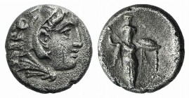 Mysia, Pergamon, c. 310-282 BC. AR Diobol (9.5mm, 1.25g, 12h). Head of Herakles r., wearing lion skin. R/ Athena Promachos standing facing. SNG BnF 15...