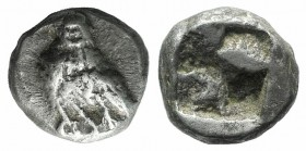 Troas, Abydos, c. 500-480 BC. AR Diobol(?) (8mm, 1.46g). Eagle standing l. R/ Quadripartite incuse square. SNG Copenhagen 1-2; SNG von Aulock 1. Good ...