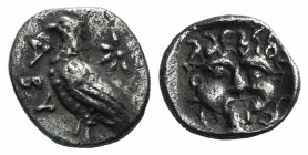 Troas, Abydos, c. 480-450 BC. AR Obol (8mm, 0.48g, 11h). Eagle standing l.; star above. R/ Gorgoneion in incuse square. SNG Copenhagen 5. Toned, Good ...