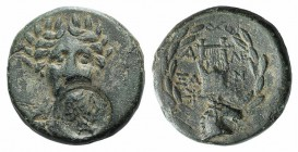 Troas, Alexandreia, c. 164-135 BC. Æ (18mm, 5.18g, 12h). Laureate head of Apollo facing; c/m: female head r. within circular incuse. R/ Lyre; star to ...