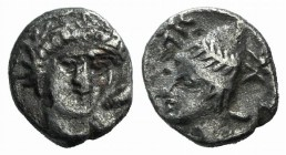 Troas, Birytis, c. 350-300 BC. AR Hemiobol (7mm, 0.33g, 1h). Head of Herakles facing slightly r., club over shoulder. R/ Head of Kabeiros l., wearing ...
